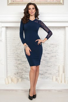 Темно синее платье с кружевом Angela Ricci со скидкой